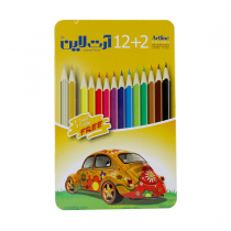 مداد رنگی ارت لاین 2+12 رنگ جعبه فلز